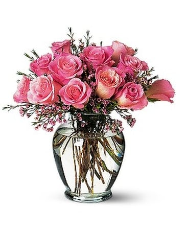 Pink Birthday Roses Flower Arrangement
