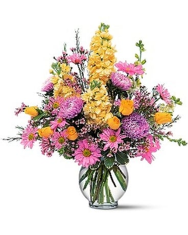 Yellow and Lavender Delight Flower Arrangement