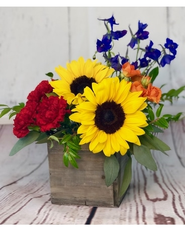 Box of Sunshine Flower Arrangement