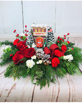 Festive Fire Station Flower Arrangement