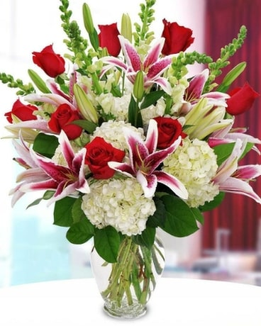 Stargazers, Roses, Hydrangea and Complimentary Fil