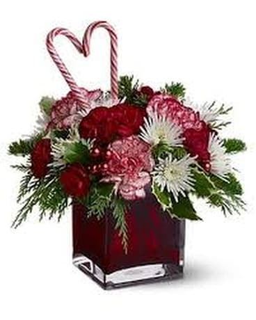 Candy Cane Christmas Flower Arrangement