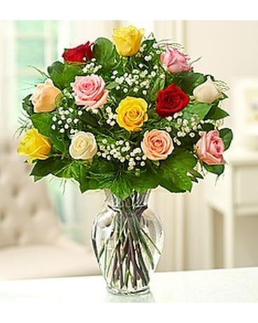Coloured Roses Flower Arrangement