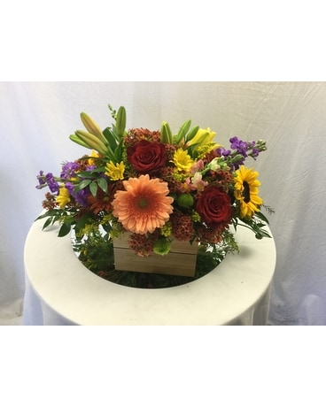 Autumn Basket Centerpiece Flower Arrangement