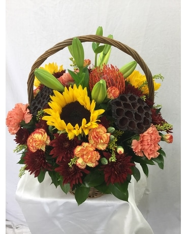 Exotic Autumn Basket Flower Arrangement