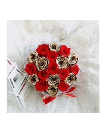 Quick View Deluxe Round Box Red And Gold Eternity Roses