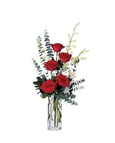 Red Roses and Orchid Splendor Flower Arrangement