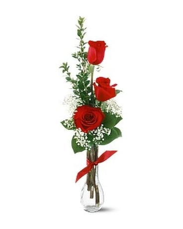 3 Red Roses Flower Arrangement