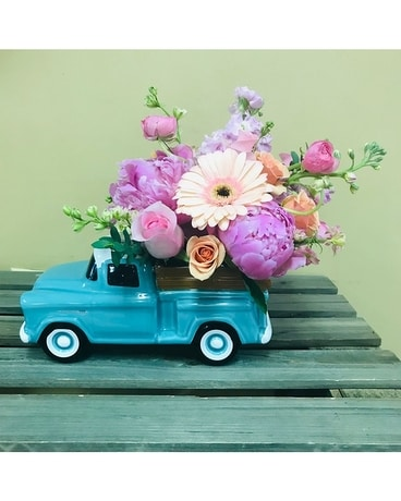 Chevy in Pink Flower Arrangement
