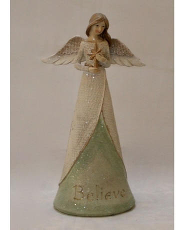 Believe Angel holding Star Flower Arrangement