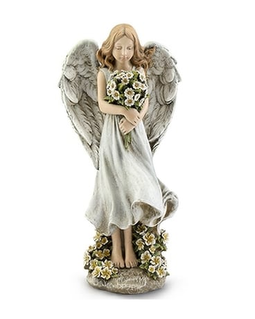 Angel holding Daisys Flower Arrangement