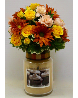 Dressed up Candle-with seasonal flowers Custom product