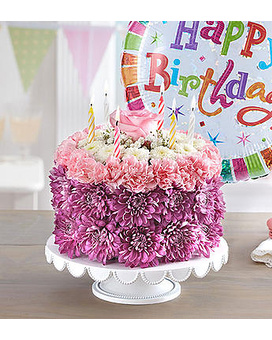 Birthday Wishes Flower Cake Pastel with Balloon-La