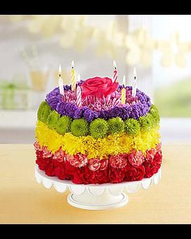 Quick View Birthday Wishes Flower Cake Rainbow