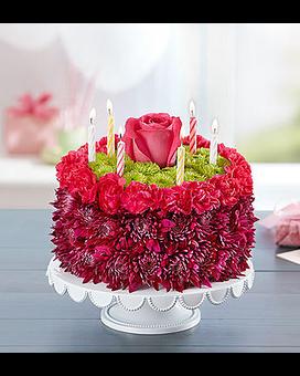 Birthday Wishes Flower Cake Purple