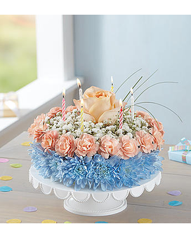 Birthday Wishes Flower Cake-Coastal Flower Arrangement