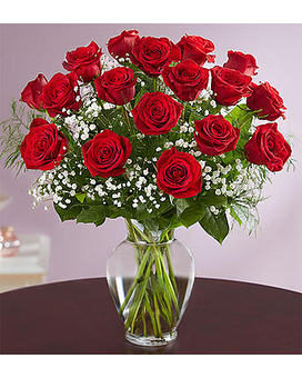 18 Stems Long Stem Red Roses Flower Arrangement