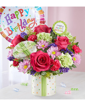 Happy Birthday Present Bouquet Flower Arrangement