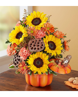 Pumpkin N' Posies Flower Arrangement