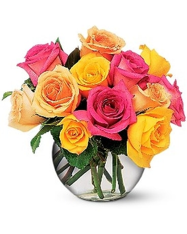 Multi-Colored Roses Flower Arrangement