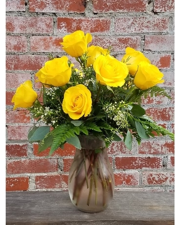 Yellow Roses Vased Flower Arrangement