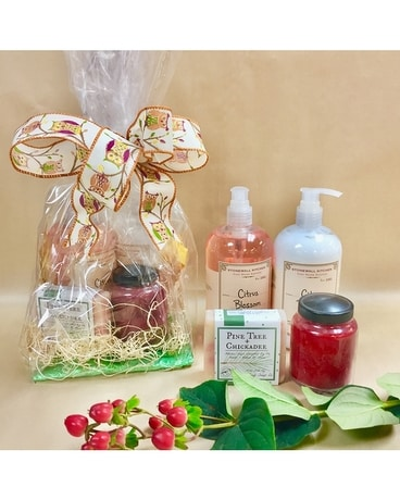 stone wall kitchen soaps, lotion and candle Gift Basket