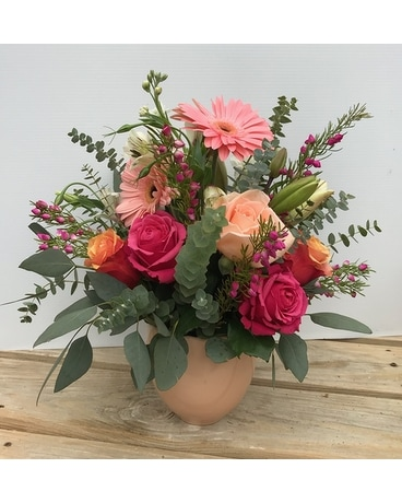 Antique Coral Flower Arrangement