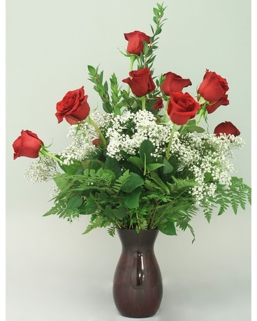 One Dozen Red Roses In Red Vase Flower Arrangement