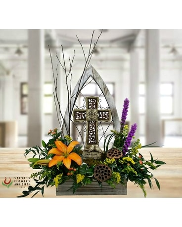 Cathedral Windowbox Funeral Arrangement