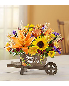 Happy Harvest Wheelbarrow Flower Arrangement