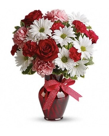 Cuddles and Kisses Bouquet with Red Roses Flower Arrangement