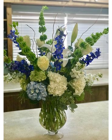Blue and White Love Flower Arrangement