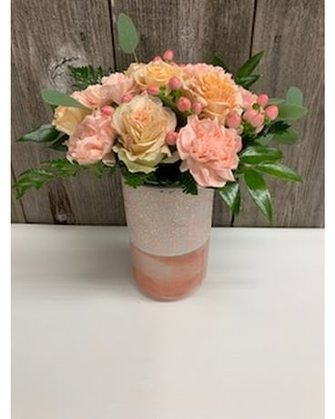 Tall Peach Cosmo Flower Arrangement