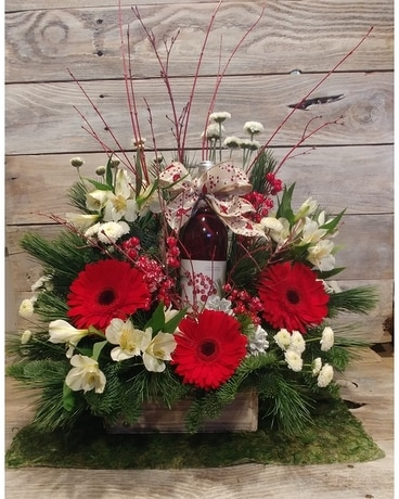 Holiday Flower and Wine Box Flower Arrangement