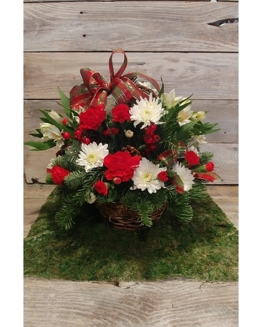 Christmas Flower Basket Flower Arrangement
