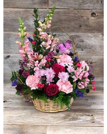Country Spring Bloom Basket Flower Arrangement
