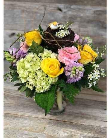 Pretty Bird Pastel Flower Arrangement