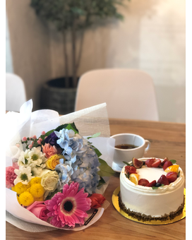 Fruit Cake & Bouquet Set Specialty Arrangement