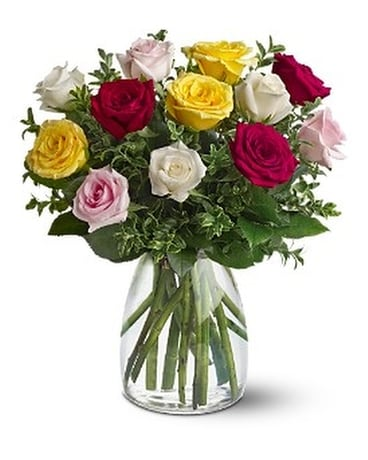A Dozen Mixed Roses - by Comox Flower Pot Flower Arrangement