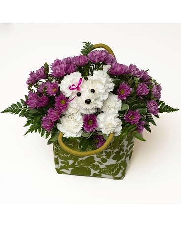 Take Me Home Pup Flower Arrangement