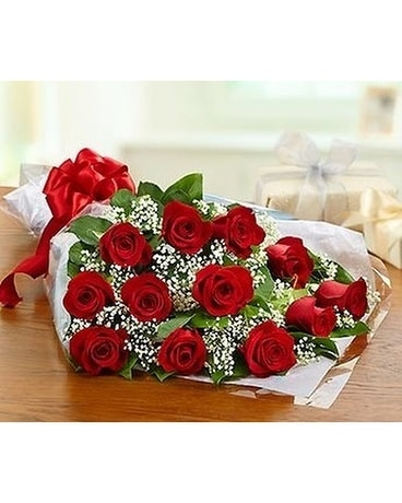 1 Dozen Red Roses Wrapped Flowers