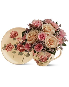 Teleflora's Victorian Teacup Bouquet - by Floral E Flower Arrangement