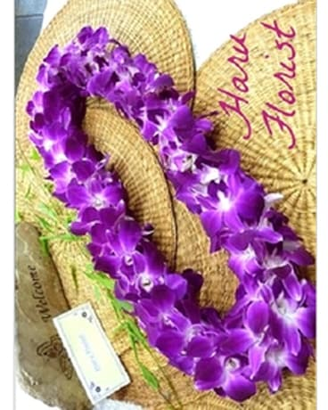 Double Purple Orchid Lei $45.00 Flower Arrangement
