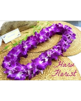 Double Purple Orchid Lei Flower Arrangement