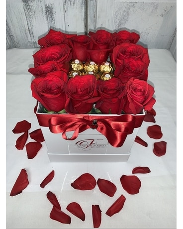 Signature Roses and Chocolate Flower Arrangement