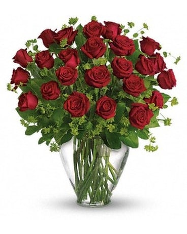 24 Red Roses arranged in a vase with Babies Breath Flower Arrangement