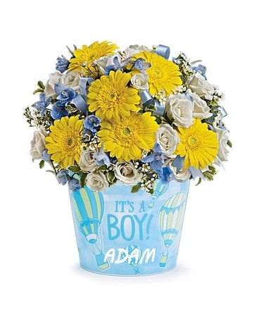 It's A Boy! with Custom Vinyl Flower Arrangement