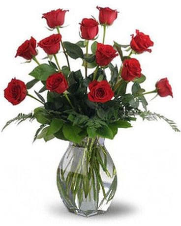 One Dozen Red Roses with Choice of Accent