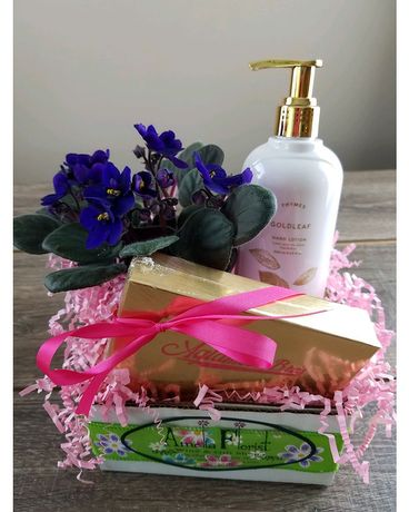 African Violet With Candy and Hand Lotion Gift Basket