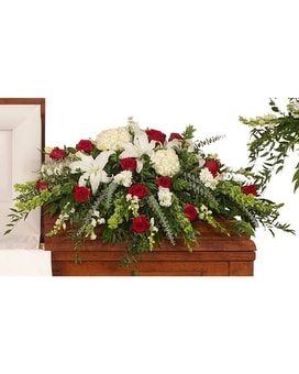 Red & White Casket Spray Flower Arrangement
